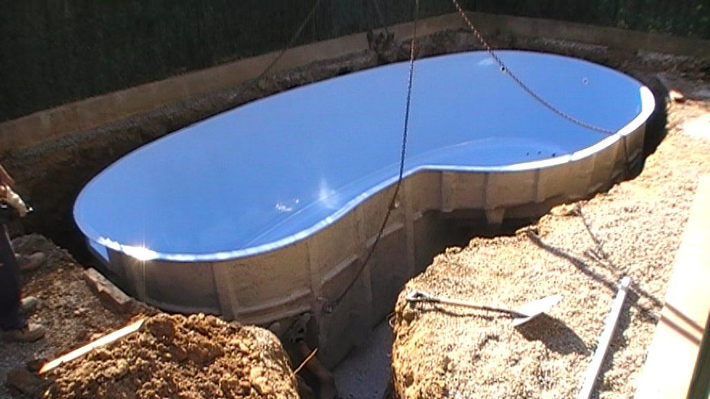 descarga piscina prefabricada y colocación